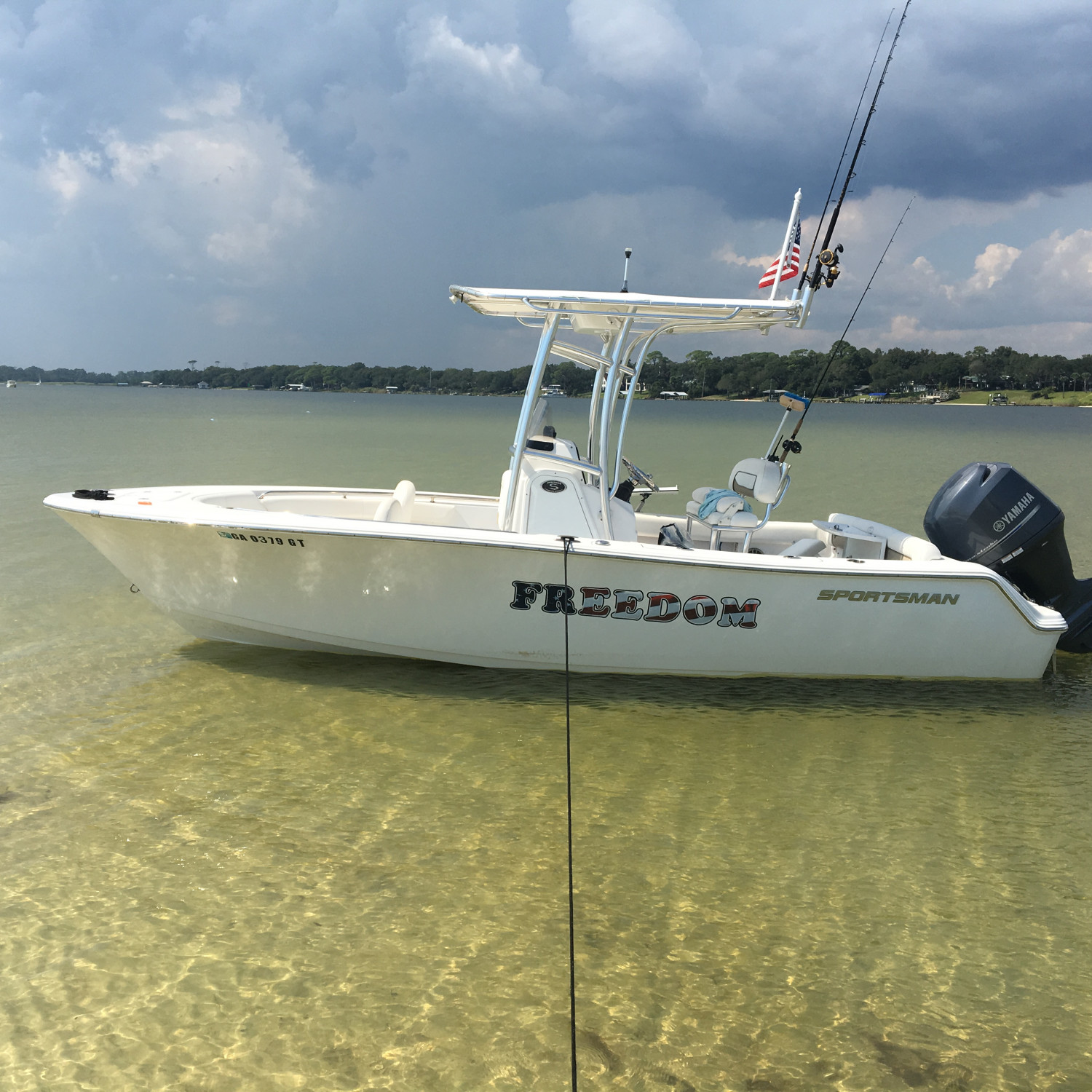 Title: Freedom at rest - On board their Sportsman Heritage 211 Center Console - Location: Fort Walton Beach, Florida. Participating in the Photo Contest #SportsmanNovember2017